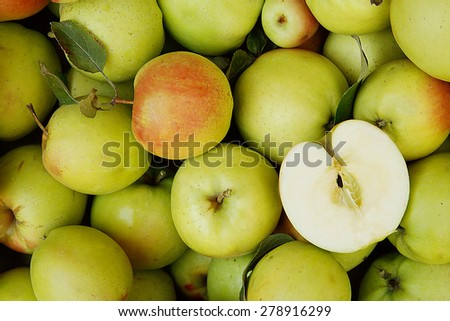 a background of green apples