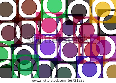 a background of motifs of different colors and sizes