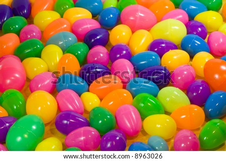 A Background Of Multicolored Plastic Easter Eggs