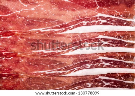 A background of parma ham slices - stock photo