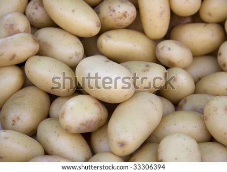 A background of scrubbed, new potatoes for sale at a market