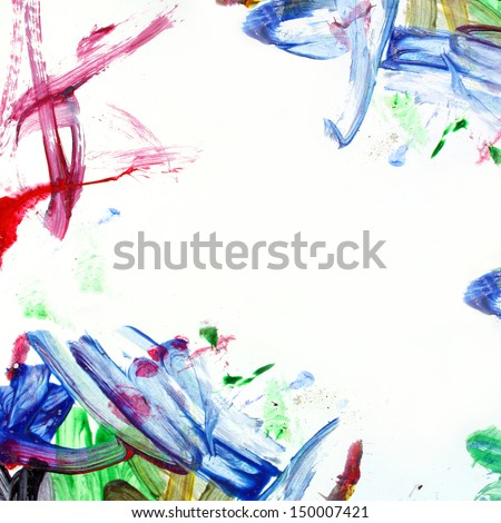 A background of square white paper, surrounded by corners that a child has painted in a messy manner - stock photo