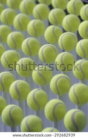 A background of tennis balls - stock photo