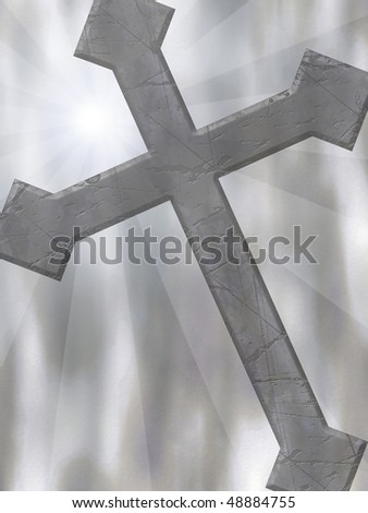 A background with a cross and rays of light.