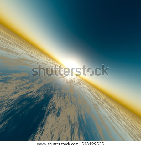 A background with sun on edge of horizon over surreal glass, 3D rendering.
