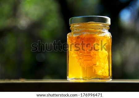 A backlit jar of pure amber colored local honey glistens in the sun, inside the jar is also a piece of the honeycomb it came from. - stock photo