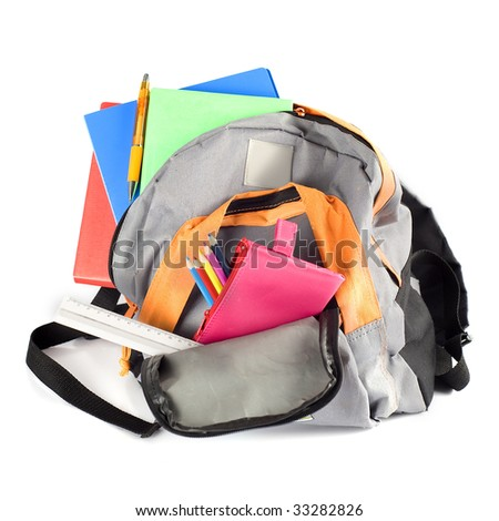 a backpack for the first school-day - stock photo