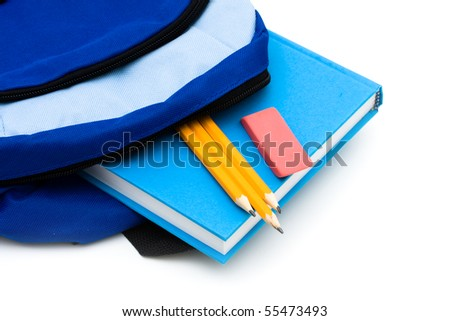 A backpack with pencils and an eraser and book isolated on a white background, school work - stock photo