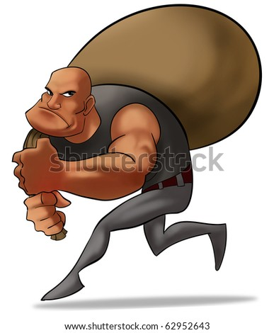 a bad robber with a sack of money, he is running careful