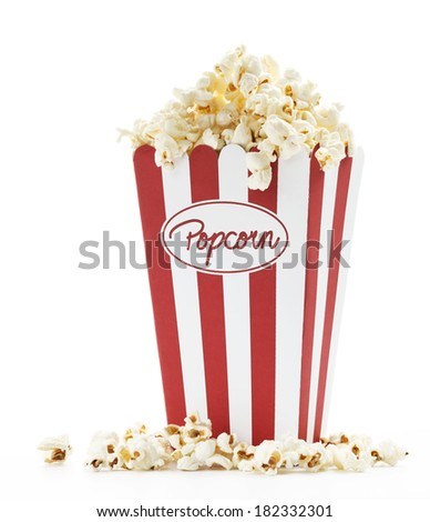 a bag full of popcorn with white background - stock photo