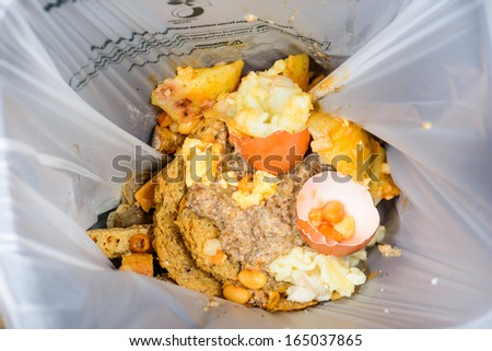 A bag of food recycling waste in a recycling bag - stock photo
