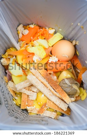 A bag of food recycling waste in a recycling bin