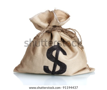 A bag with a dollar sign isolated on white - stock photo