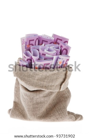 a bag with lots of â?¬ banknotes - stock photo