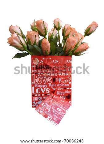 A bag with roses for Valentines day - stock photo