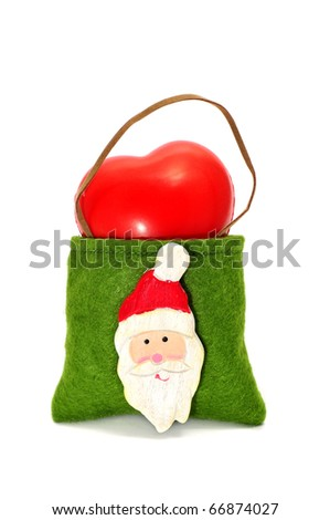 a bag with the figure of Santa Claus on a white background