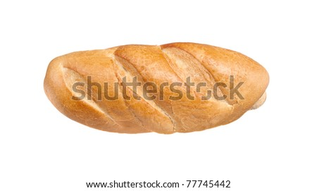 A baguette loaf of bread isolated on white - stock photo