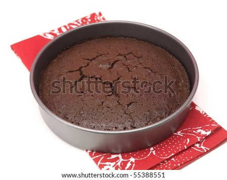 A baked chocolate cake on a kitchen bench - stock photo