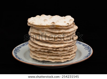 A baked light and crispy crispbread - stock photo