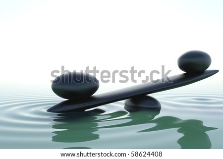 A balance stone in a zen water - stock photo