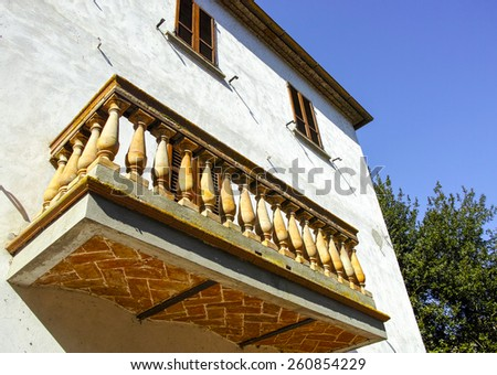 a balcony in a house in umbria region - stock photo