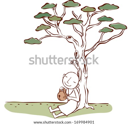 A bald monk sits on the ground below a tree. - stock photo