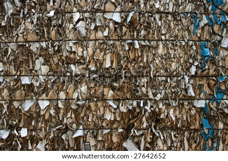 A bale of compressed cardboard - stock photo