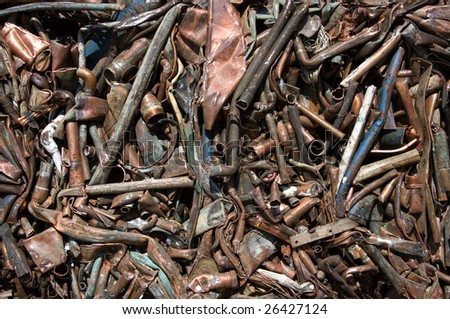 A bale of compressed copper for recycling - stock photo