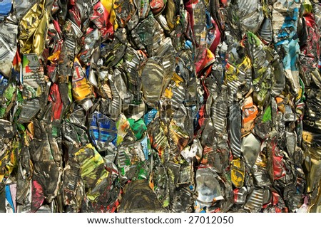 A bale of tin cans for recycling - stock photo