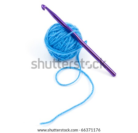 a ball of yarn on white background - stock photo
