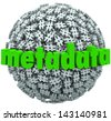 A ball or sphere of hash tags or number pound signs and the word Metadata to illustrate posts and data published on websites or social network sites - stock photo