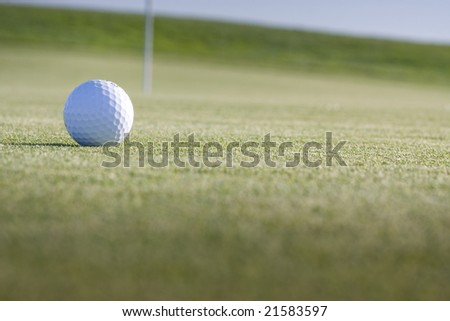 A ball waits to be putted on the Ocean Course at the Half Moon Bay Golf Links in Northern California, site of the Samsung World Championship of Golf 2008 - stock photo