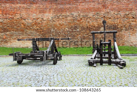 A Ballista and catapult inside the castle of Lubart in Lutsk, Ukraine