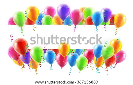 A balloons banner sign with party balloons and confetti - stock photo
