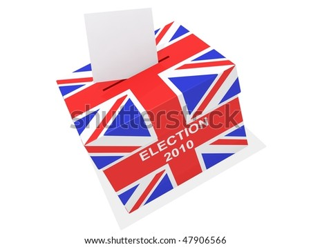 a ballot box covered in the union jack isolated on white - stock photo