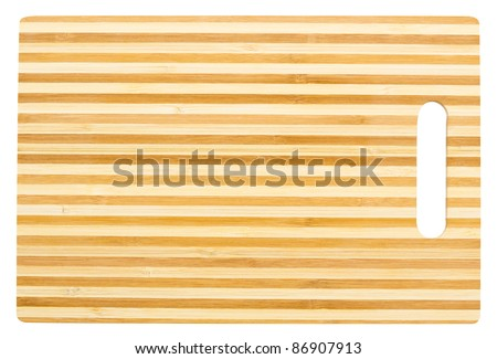 a bamboo cutting board, isolated, clipping path - stock photo