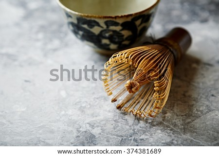 A bamboo tea whisk for matcha tea - stock photo