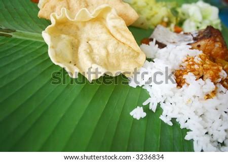 a banana leaf rice - stock photo
