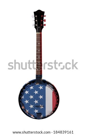 A Banjo with American Flag Isolated on a White Background - stock photo