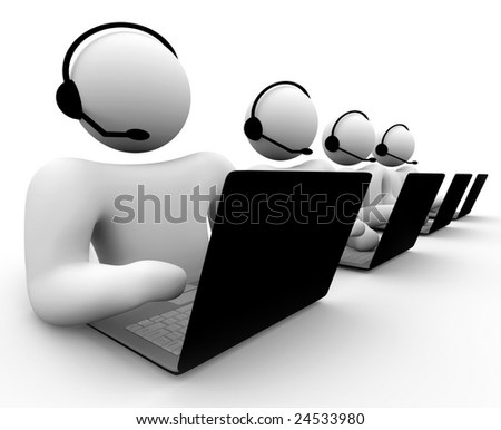 A bank of call center operators -- customer service, computer tech support, etc. - stock photo