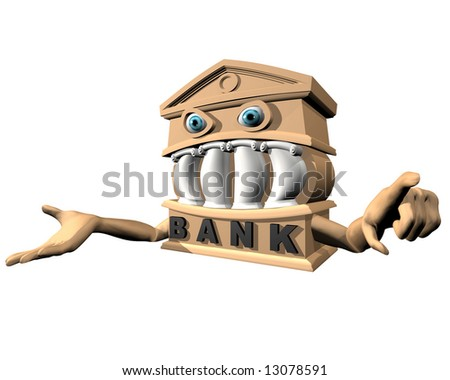 A Bank with one arm out stretched open handed waiting for money. The other hand is pointing directly at the onlooker. - stock photo