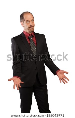 A banker without imagination isolated on a white background. - stock photo