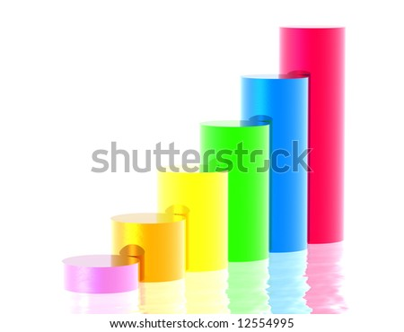 A bar graph showing continual improvement - stock photo