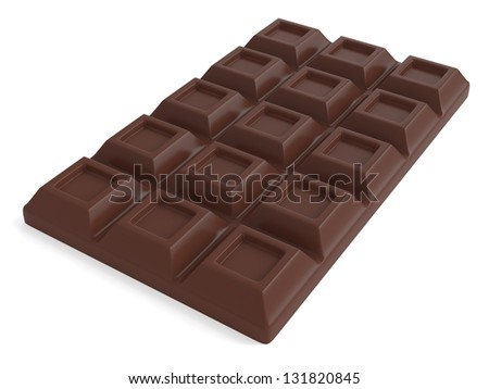 A Bar of milk chocolate isolated on white background. Computer generated image with clipping path - stock photo