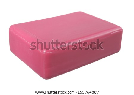 A bar of pink soap isolated on white background - stock photo