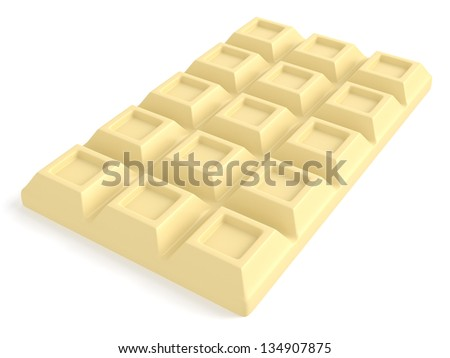 A Bar of white chocolate isolated on white background. Computer generated image with clipping path