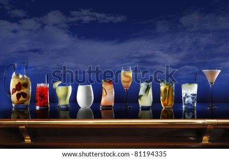A bar with a selection of cocktails - stock photo
