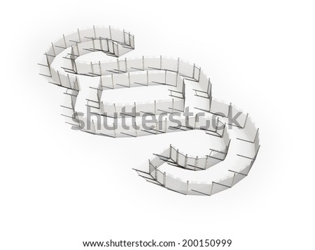 A barbed wire fence forming the section sign - legal  - stock photo