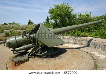 A barbette gun in a gun battery in Sandy Hook, NJ