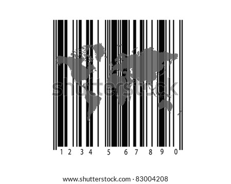 A barcode and a world map isolated against a white background